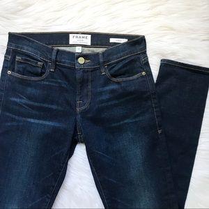 Frame Denim Le Garçon Skinny Boyfriend Dark Jeans